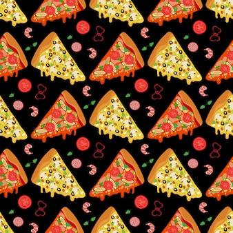 Fatias de pizza de desenho animado e ingredientes de alimentos sem costura de fundo