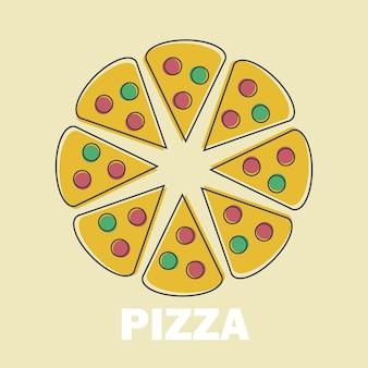 Fatias de pizza ilustração vetorial em line art flat style design imagem engraçada para o símbolo do menu ou do site