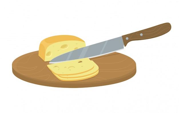 Fatias de queijo com uma faca. corte manual e moagem de ingredientes orgânicos. ilustração em estilo simples dos desenhos animados.