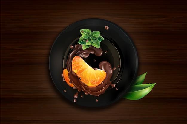 Fatias de tangerina no chocolate em uma placa preta e em uma mesa de madeira.