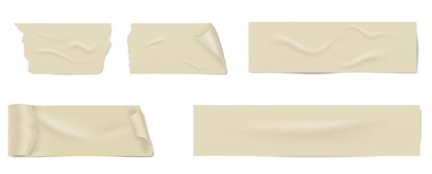 Fatias de uma fita adesiva com sombra e rugas.