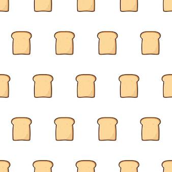 Fatias torradas pão padrão sem emenda. ilustração do tema do produto de pastelaria de padaria