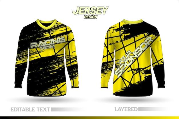Fato de corrida desportivo de manga comprida. modelos de design de camisetas frente e verso