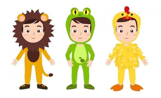 Fato de menino primavera costumes, leon, sapo e galinha