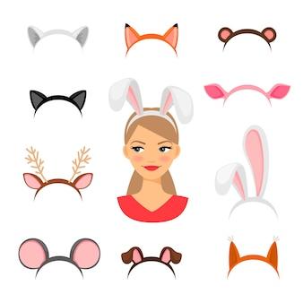 Fato de orelhas de animais de meninas