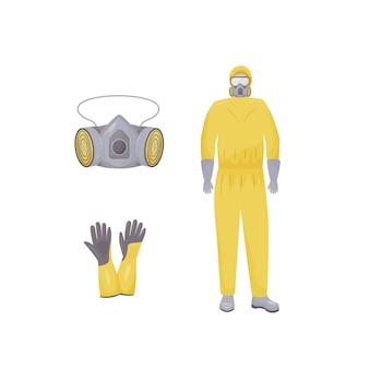 Fato de proteção, respirador, luvas