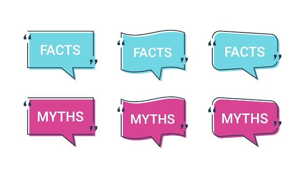 Fato e mito em balões de fala. ilustração vetorial.