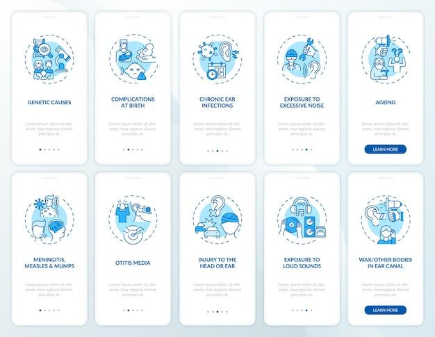 Fatores de deficiência auditiva integrando a tela da página do aplicativo móvel com o conjunto de conceitos