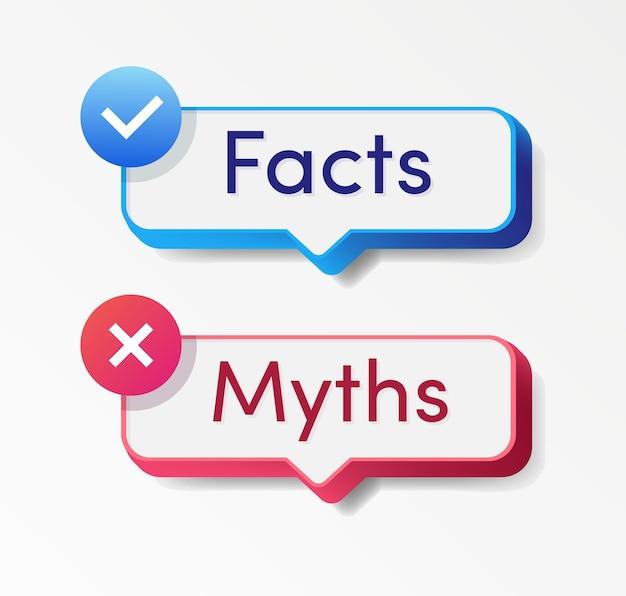 Fatos x mitos, estilo realista, isolado em fundo branco verificação de fatos ou fácil comparação de evidências