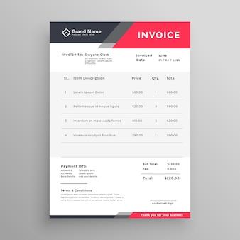 Fatura design moderno modelo de factura criativa
