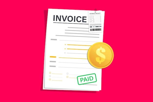 Fatura digital com contas, ilustração design plano. fatura com recibo, modelo de vetor. pagamento e fatura da fatura. modelo de design de formulário de fatura para site ou modelo de layout de página da web