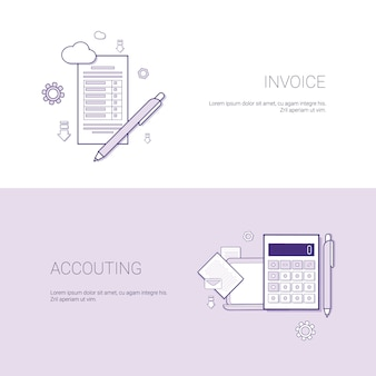 Fatura e contabilidade modelo financeiro web banner com cópia espaço