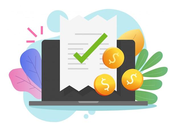 Fatura on-line de pagamento eletrônico com nota fiscal de recebimento no computador portátil