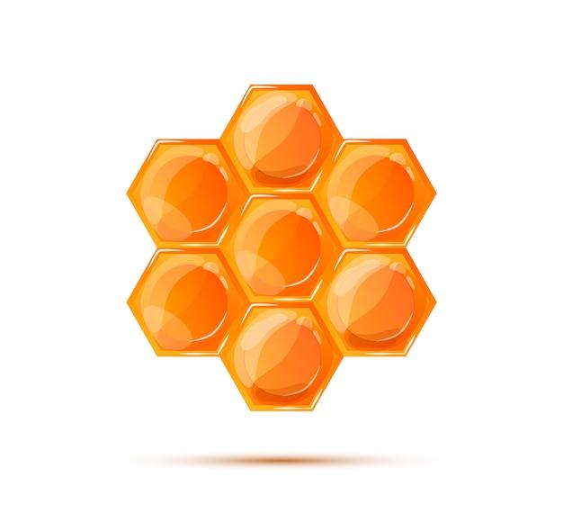 Favo de mel brilhante brilhante com sombra isolado no branco