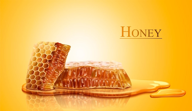 Favo de mel e mel puro e doce em estilo 3d