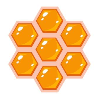 Favo de mel em forma de hexágonos. vetor de estilo simples.