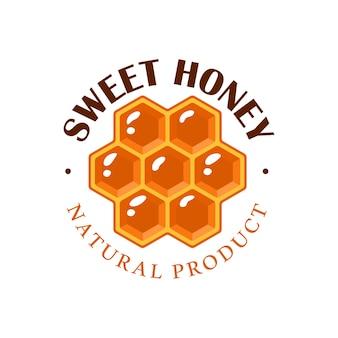 Favo de mel em fundo branco. etiqueta de mel, logotipo, conceito de emblema. ilustração