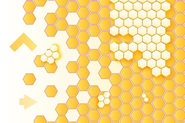 Favos de mel e setas vector fundo. pano de fundo gradiente minimalista amarelo e branco hexágonos 3d