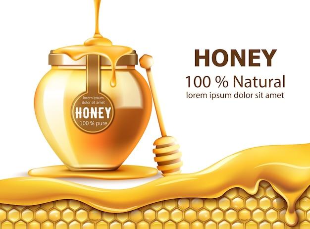 Favos de mel e um pote com mel