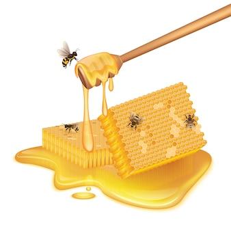Favos de mel em forma de quadrado, poça de mel, abelha voando e abelha sentada.