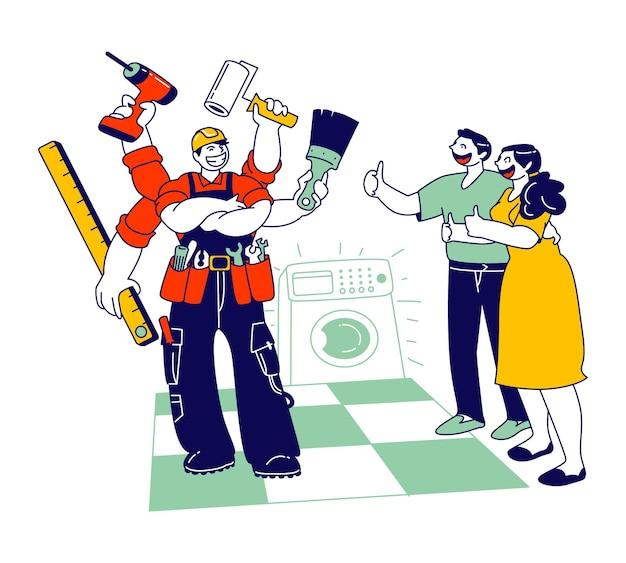 Faz-tudo encanador que fixa a máquina de lavar roupa no banheiro. ilustração plana dos desenhos animados