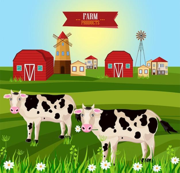 Fazenda aldeia vacas comendo grama
