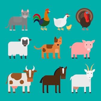 Fazenda animais fofos ícones coloridos