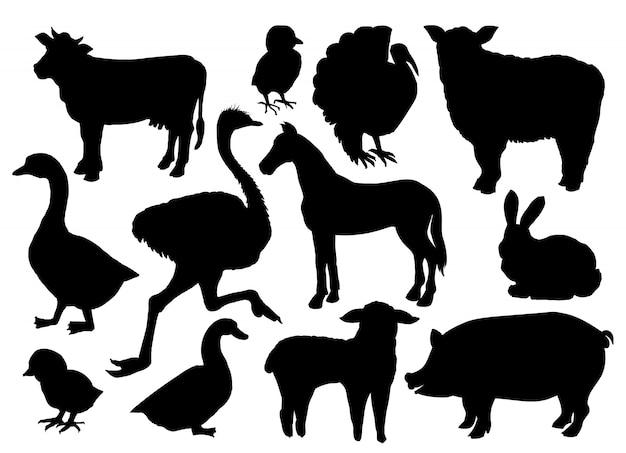 Fazenda animais pecuária silhuetas.