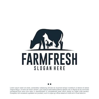 Fazenda animal, fazenda fresca, modelo de design de logotipo