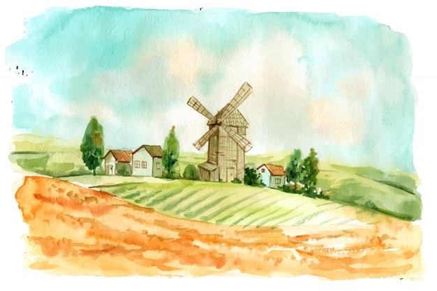 Fazenda aquarela criativa