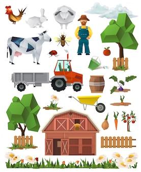 Fazenda, baixo poli conjunto de ícones do vetor