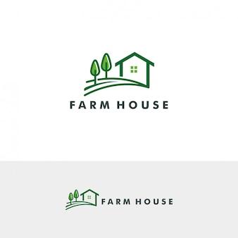 Fazenda casa logo modelo ilustração vetorial