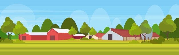 Fazenda casa moderno celeiro edifício exterior campo terras agrícolas paisagem paisagem fundo horizontal