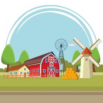 Fazenda celeiro e moinho de vento turbina eólica