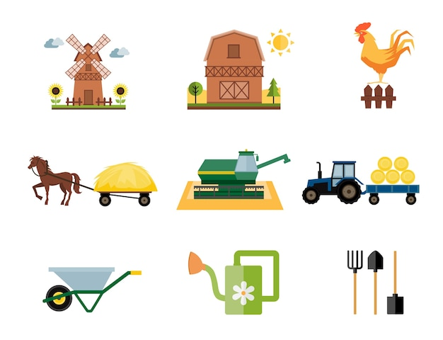 Fazenda colorida e ícones agrícolas em estilo simples