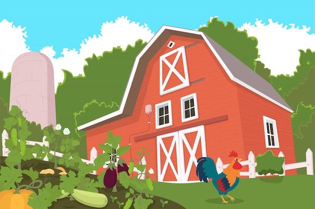 Fazenda com animais e canteiros de legumes em primeiro plano.