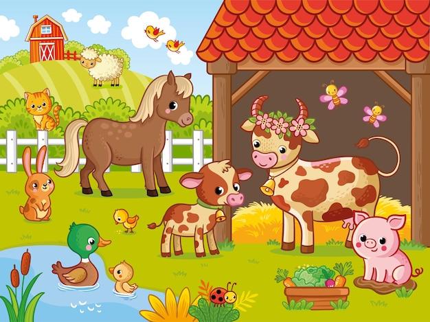 Fazenda com animais em estilo cartoon ilustração vetorial com animais de estimação grande conjunto de animais e pássaros