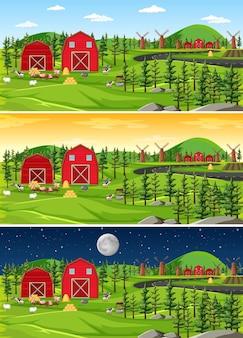 Fazenda com celeiro e moinho de vento na paisagem natural em diferentes momentos do dia
