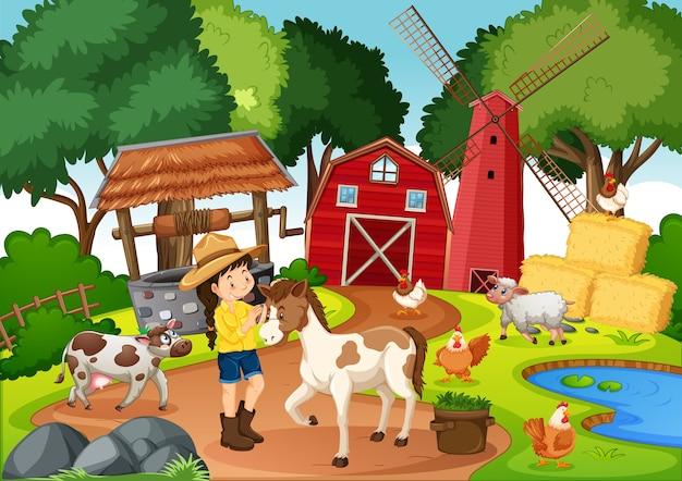 Fazenda com celeiro vermelho e cena de moinho de vento