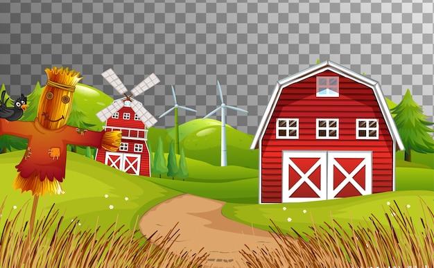 Fazenda com celeiro vermelho e moinho de vento isolado