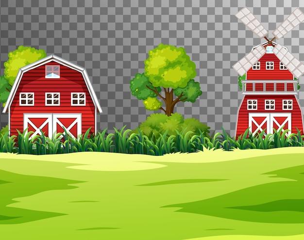 Fazenda com celeiro vermelho e moinho de vento transparente