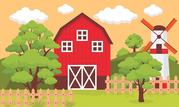 Fazenda com cercas e moinho em dia de sol