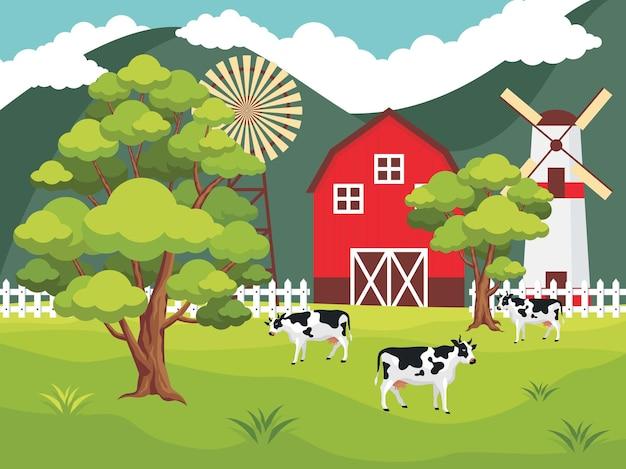 Fazenda com cercas, vacas e moinho em um dia ensolarado