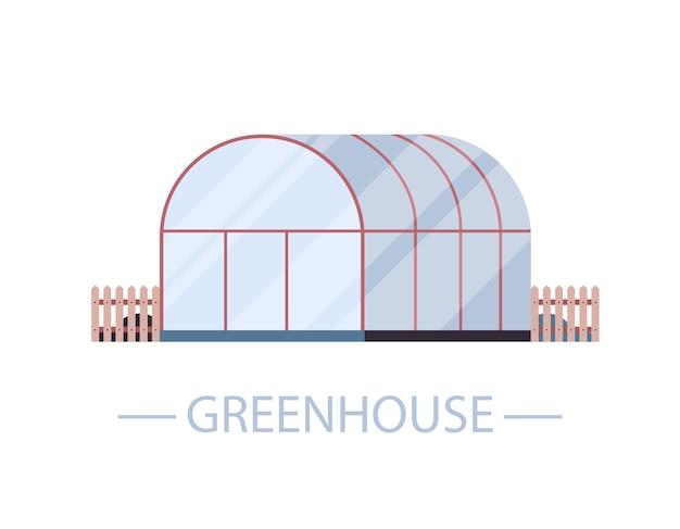 Fazenda com efeito de estufa construção de agricultura ecológica orgânica ilustração vetorial horizontal