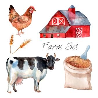Fazenda conceito aquarela definida com vaca galinha e grão