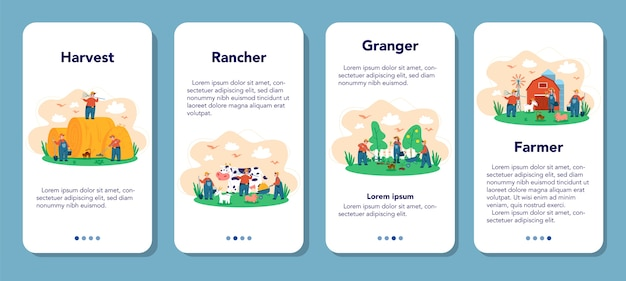 Fazenda, conjunto de banner de aplicativo móvel de fazendeiro. agricultores trabalhando no campo, regando plantas e alimentando animais. vista do campo de verão, agricultura. viver na aldeia.