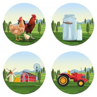 Fazenda conjunto de desenhos animados