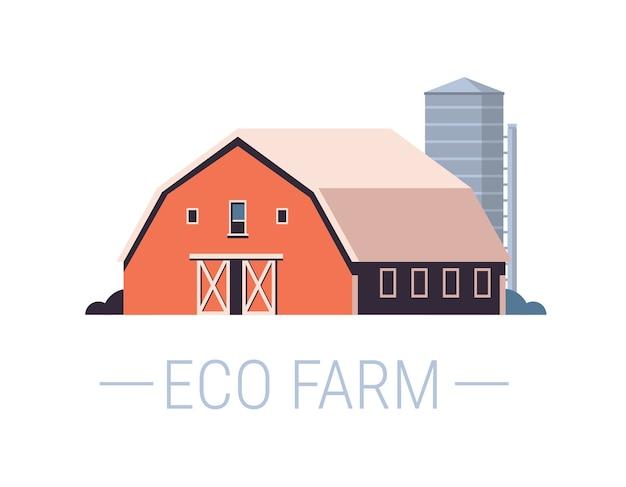 Fazenda construção casa agricultura ecológica orgânica conceito ilustração vetorial horizontal