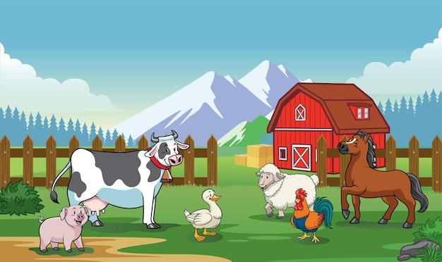Fazenda de animais com estilo cartoon