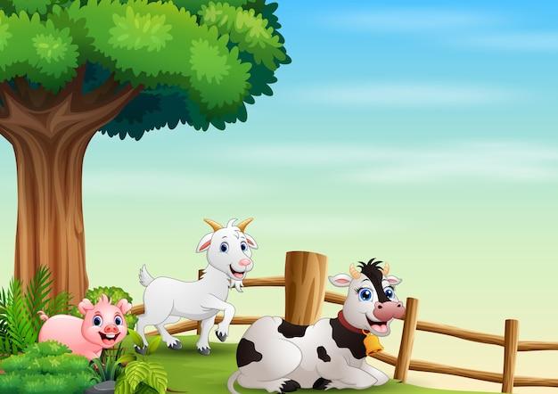 Fazenda de animais feliz brincando dentro da cerca